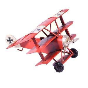 Κόκκινο τριπλάνο μινιατούρα διακοσμητική 16x13x8 εκ
