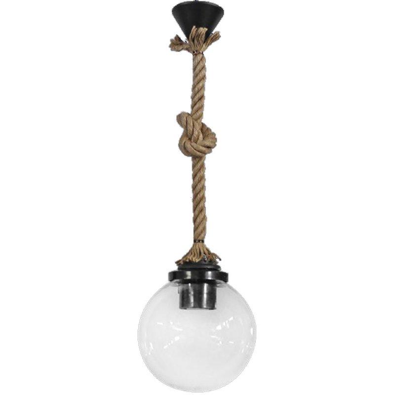 Κρεμαστό φωτιστικό διάφανη  μπάλα με σχοινί 105x20 εκ
