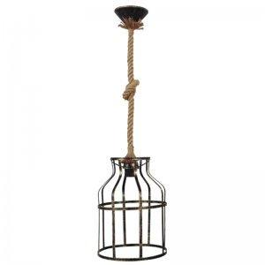 Κρεμαστό φωτιστικό με σχοινί και μπρονζέ αμπαζούρ cage