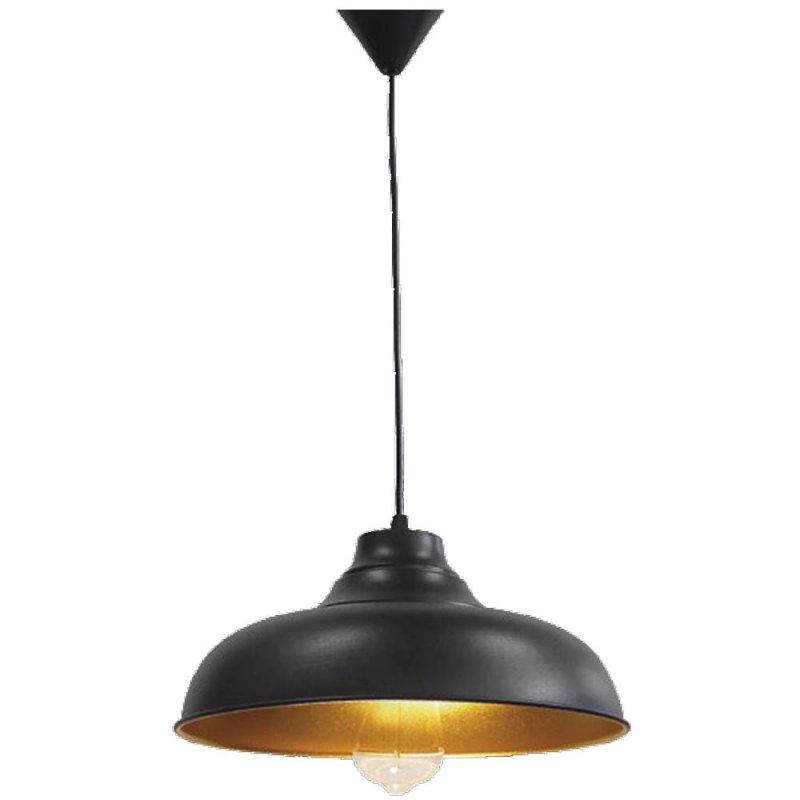 Κρεμαστό φωτιστικό μεταλλικό μαύρο με χρυσό χρώμα στο εσωτερικό του 85x32 εκ