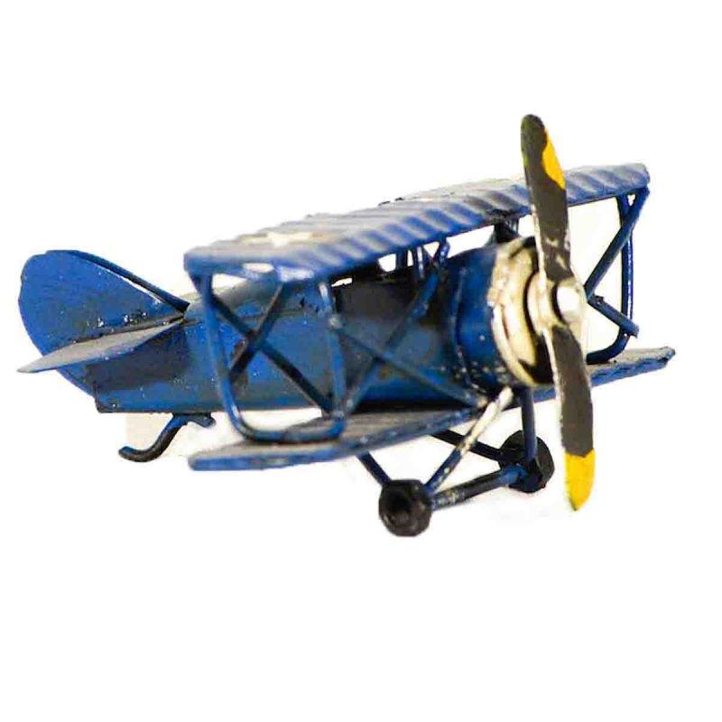 Μπλε μινιατούρα μεταλλική αεροπλανάκι 6x7x3 εκ