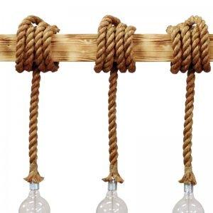 Κρεμαστό φωτιστικό τρίφωτο με ξύλινη ράγα και σχοινί