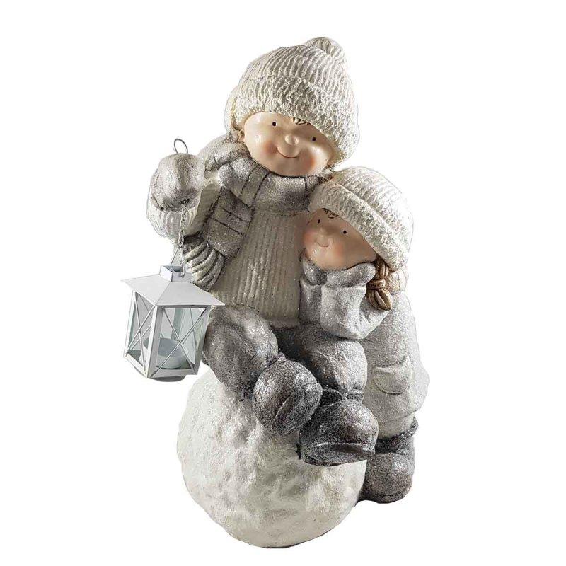 Παιδάκια πάνω σε χιονόμπαλα και φανεράκι κεραμικές φιγούρες 50x32x26 εκ