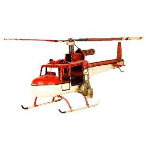 Vintage Mεταλλικό διακοσμητικό - Πυροσβεστικό ελικόπτερο 35Χ11Χ16cm