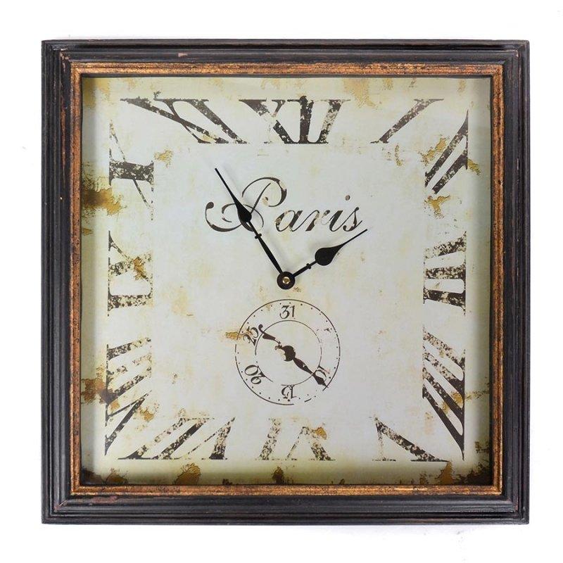 Vintage ξύλινο ρολόι τοίχου Paris Rusty Black