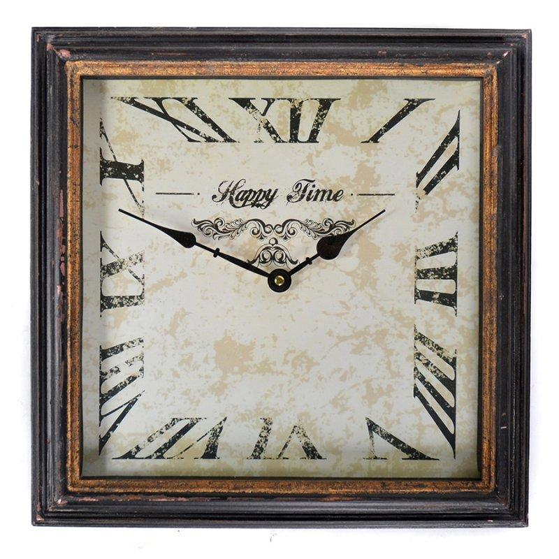 Vintage ξύλινο τετράγωνο ρολόι τοίχου Happy time Rusty Black