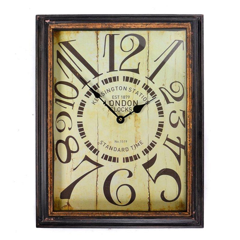 Vintage ξύλινο ρολόι τοίχου Kensigton Rusty Black