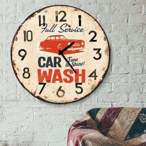 Car Wash - Ρολόι τοίχου Ξύλινο Χειροποίητο Στρογγυλό