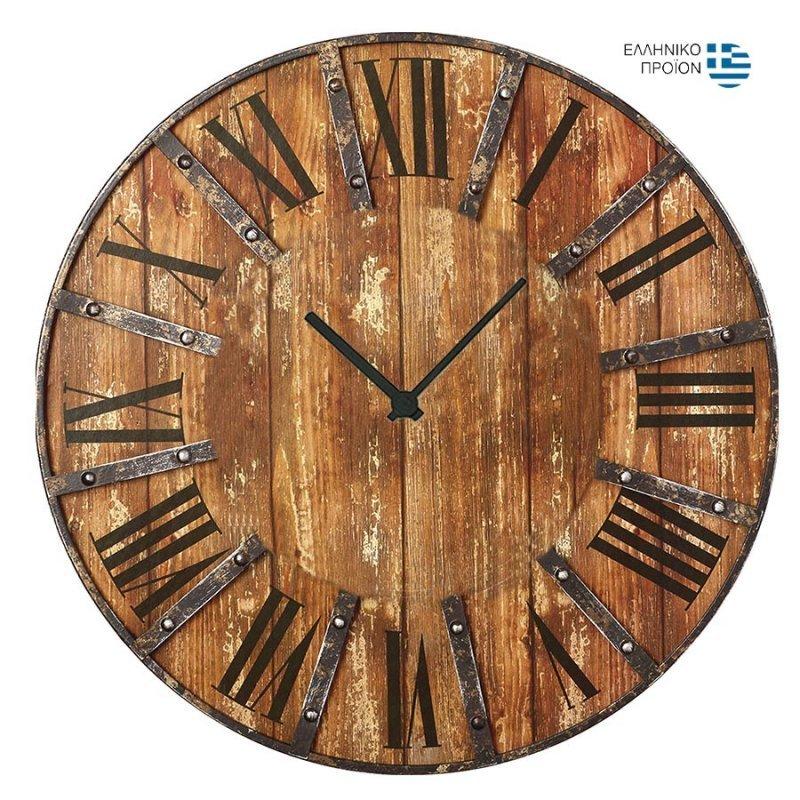Vintage Ρολόι τοίχου Industrial wood - 48cm F4821