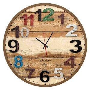 Στρογγυλό ξύλινο ρολόι τοίχου με χρωματιστά νούμερα