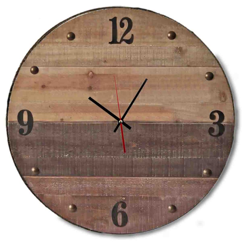 Ρολόι τοίχου ξύλινο χειροποίητο σε καφέ απόχρωση | Echo Deco
