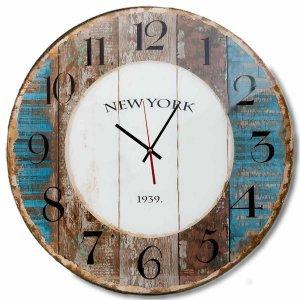 Vintage στρογγυλό ρολόι τοίχου New York 1939 από ξύλο χειροποίητο