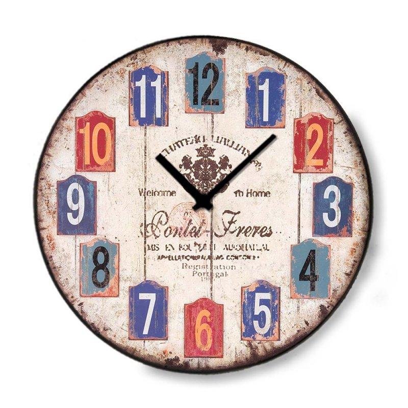 Vintage ξύλινο στρογγυλό ρολόι τοίχου Numbers Tags 48cm-60cm