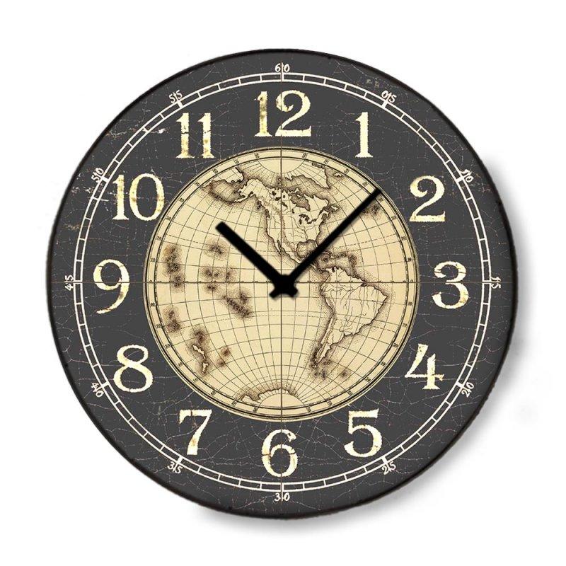 Industrial ξύλινο στρογγυλό ρολόι τοίχου World 48cm-60cm