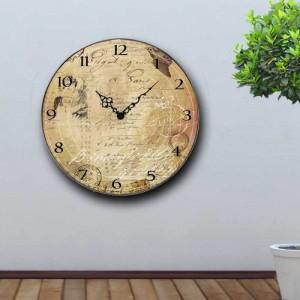 Vintage Ρολόι τοίχου Old Message - Ξύλινο Χειροποίητο 32cm