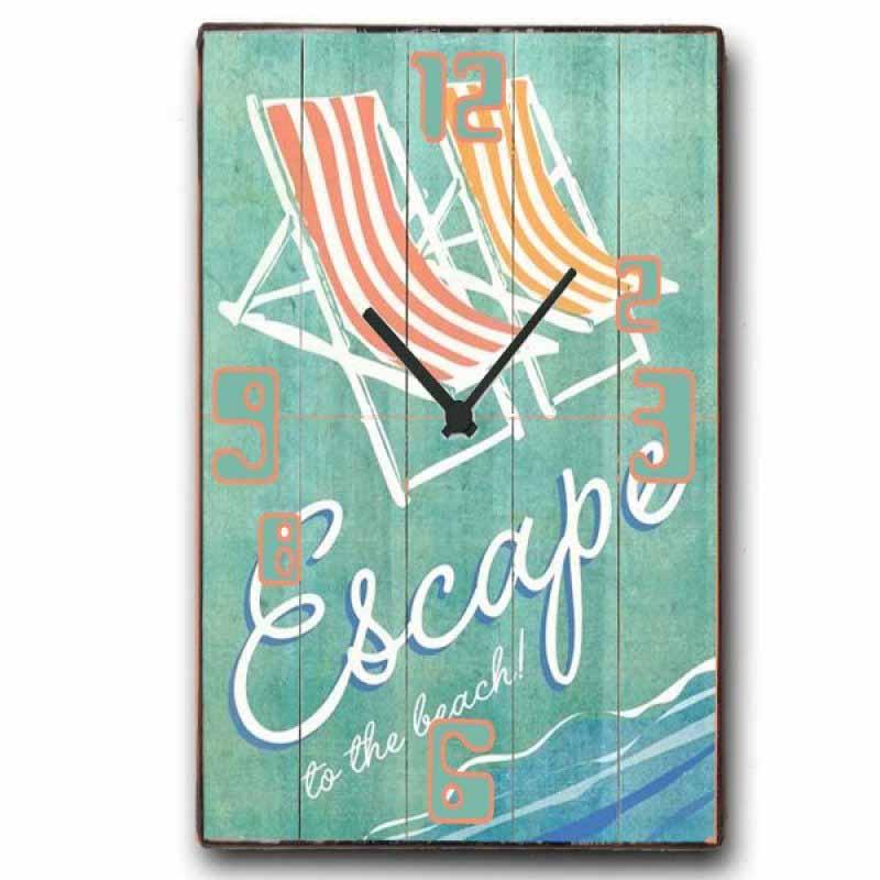 Retro Ρολόι τοίχου Escape to the beach - Ξύλινο Χειροποίητο 48X64cm