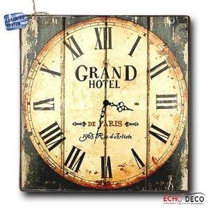 Vintage Ρολόι τοίχου Grand Hotel - Ξύλινο Χειροποίητο 32X32cm