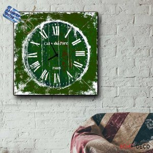 Vintage Ρολόι Τοίχου Café du Parc - Ξύλινο Χειροποίητο 32x32 cm