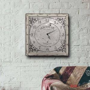 Vintage Ρολόι Τοίχου Old South - Ξύλινο Χειροποίητο 48x48 cm