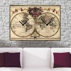 World - Ρολόι τοίχου Ξύλινο Χειροποίητο με Διπλή Ώρα 64Χ48 cm