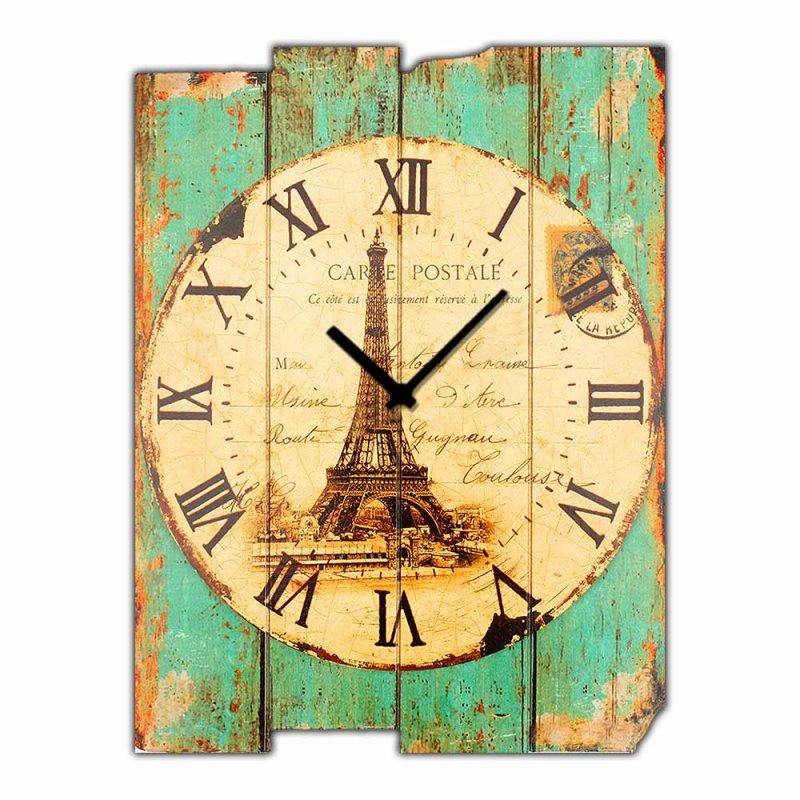 Ξύλινο Χειροποίητο Vintage Ρολόι τοίχου Paris Carte Postale  48X64cm