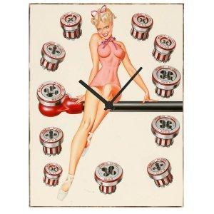 Garage Pin Up - Ρολόι τοίχου Ξύλινο Χειροποίητο 64Χ48cm P486411