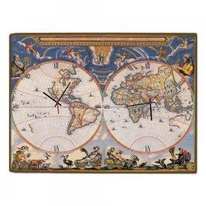 Globe- Ξύλινο Ρολόι Τοίχου Χειροποίητο 64x48 εκ