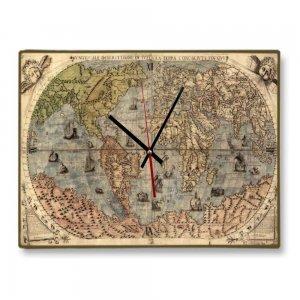 Vintage Χειροποίητο ρολόι Τοίχου 48x64 εκ - Ancient World Map