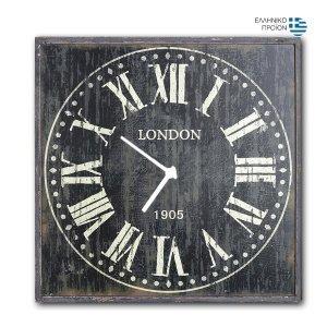 London BL - Ρολόι τοίχου Ξύλινο Χειροποίητο Τετράγωνο 48cm T4816