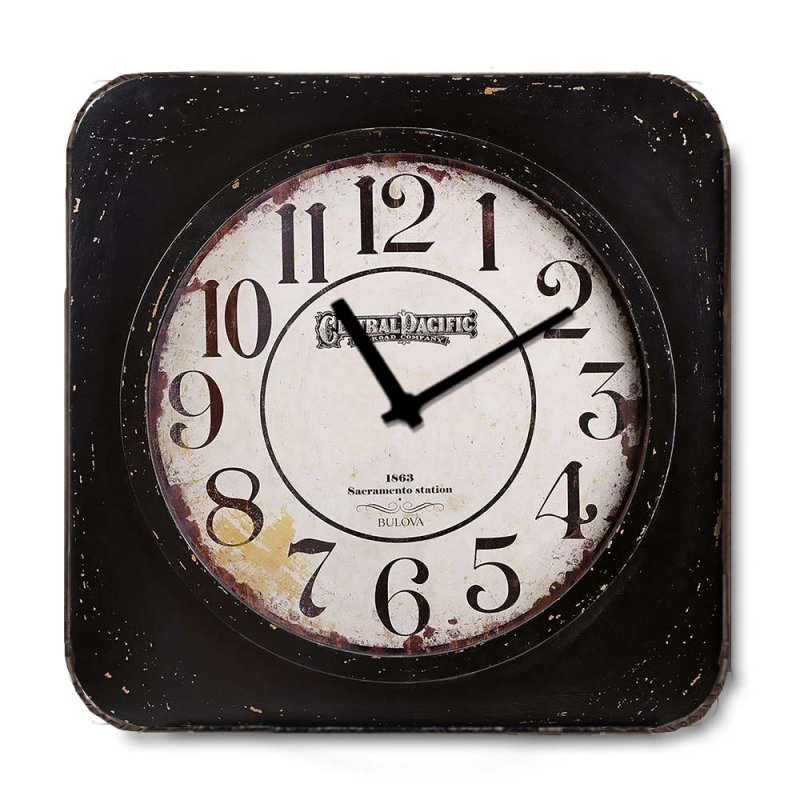 Industrial ξύλινο Ρολόι τοίχου Bulova 48cm-60cm