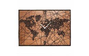 Επιτοίχιο vintage ξύλινο χειροποίητο ρολόι Spots in the world 64x48 εκ
