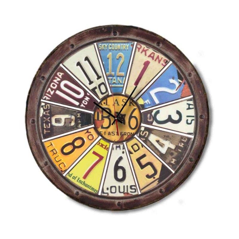 Industrial American signs rusty - Ρολόι Τοίχου στρογγυλό Ξύλινο