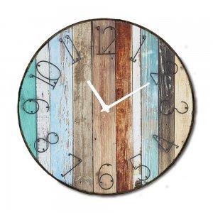 Industrial ξύλινο στρογγυλό ρολόι τοίχου Beach Deck 48cm-60cm