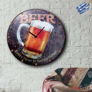 Μπύρα - Ρολόι τοίχου Ξύλινο Χειροποίητο Στρογγυλό 48