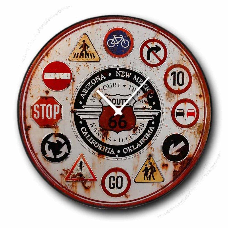 Route 66 - Ρολόι τοίχου Ξύλινο Χειροποίητο Στρογγυλό 48cm F4818