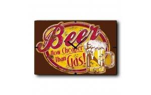 Cheap Beer - Ρολόι τοίχου Ξύλινο Χειροποίητο  32Χ48cm P324805