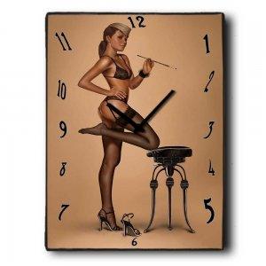 Pin Up Girl - Ρολόι τοίχου Ξύλινο Χειροποίητο 64Χ48cm P486407