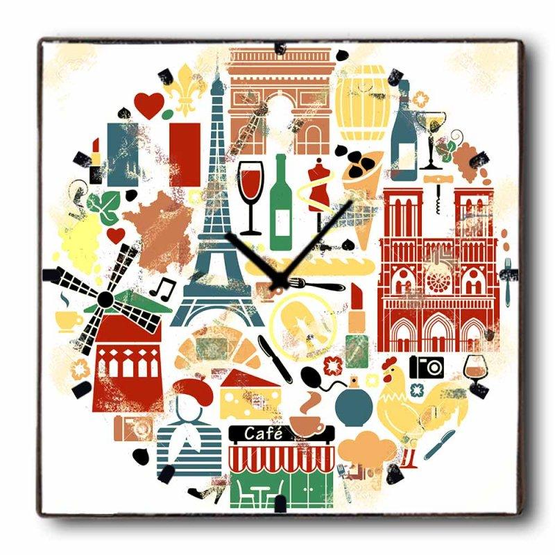 Europe - Ρολόι τοίχου Ξύλινο Χειροποίητο Τετράγωνο 48cm T4810