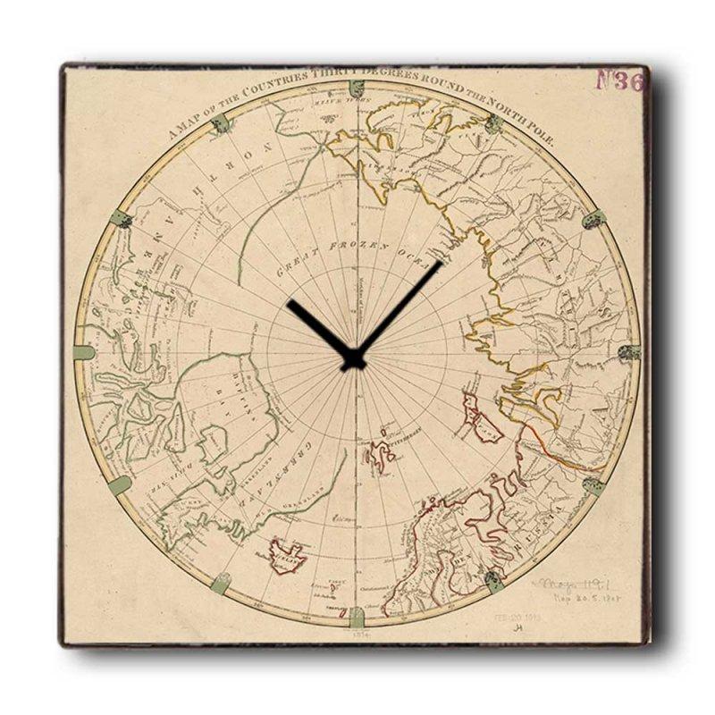 North pole - Ρολόι τοίχου Ξύλινο Χειροποίητο Τετράγωνο 48cm T4811