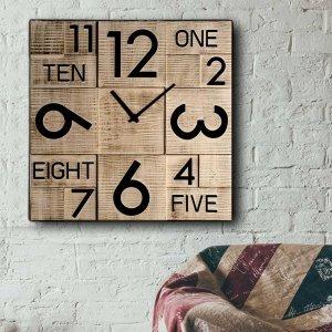 Rustik Numbers - Ρολόι τοίχου Ξύλινο Χειροποίητο Τετράγωνο 48cm T4812