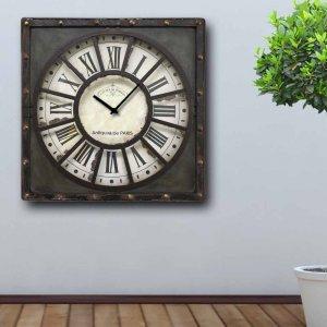 Antiquite - Ρολόι τοίχου Ξύλινο Χειροποίητο Τετράγωνο  T4815