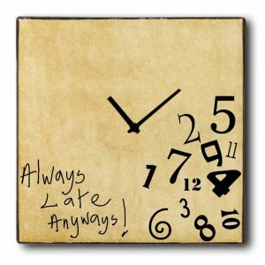 Late Anyway - Ρολόι τοίχου Ξύλινο Χειροποίητο Τετράγωνο 48cm T4813