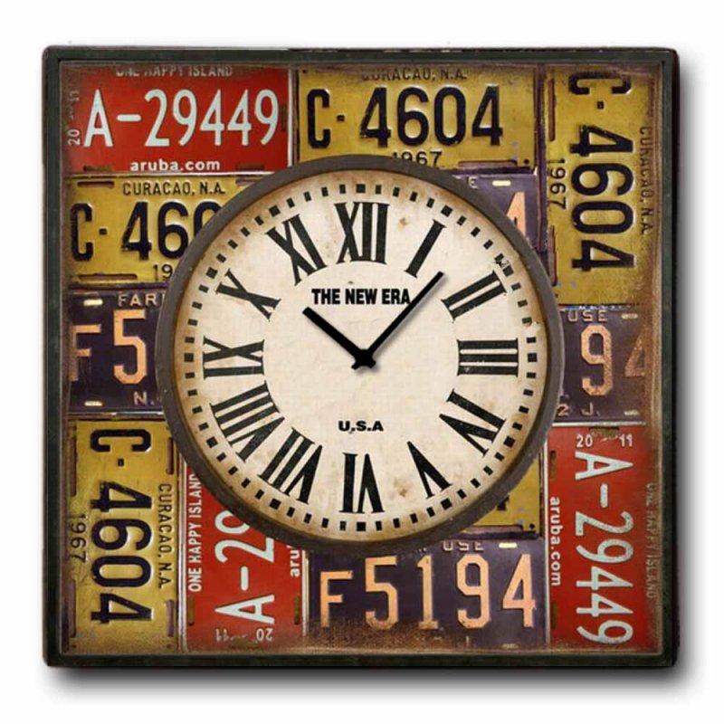 Πινακίδες - Ρολόι τοίχου Ξύλινο Χειροποίητο Τετράγωνο 48cm T4814