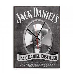 Retro Black and White Jack Daniels ξύλινο χειροποίητο Ρολόι Τοίχου 64x48 εκ