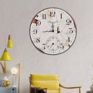 Ξύλινο Χειροποίητο Ρολόι Vintage Χειροποίητο 48cm