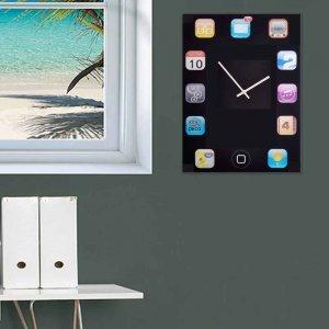 Ξύλινο χειροποίητο Ρολόι τοίχου Tablet 30Χ40