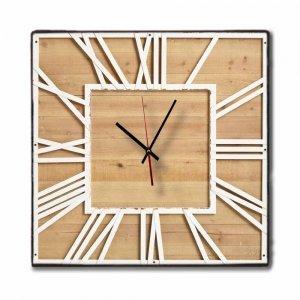 Romantic- Χειροποίητο ρολόι τοίχου 60x60 εκ - Square wood and Metal
