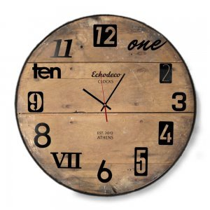 Vintage Echo deco clocks - ρολόι Τοίχου ξύλινο χειροποίητο