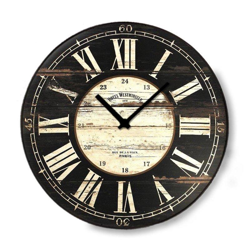 Vintage ξύλινο στρογγυλό ρολόι τοίχου Roman Numbers Noir 48cm-60cm