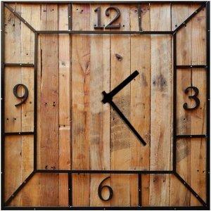 Vintage Ξύλινο Χειροποίητο Τετράγωνο Ρολόι Τοίχου  Woody